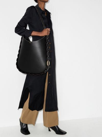 black darryl large leather shoulder bag
