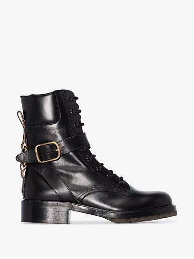 black Diane leather combat boots