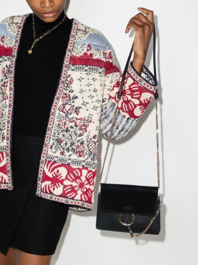 black Faye mini leather cross body bag