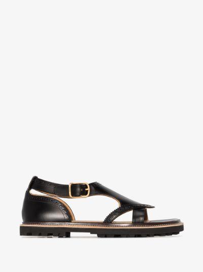 black Franne Cutout Leather Sandals