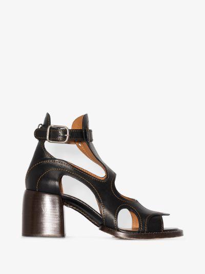 Black Gaile 60 cutout leather sandals