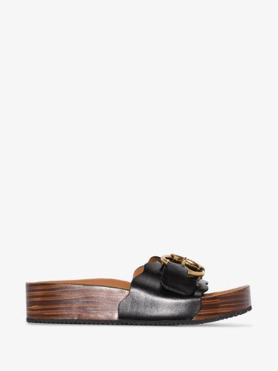black Ingrid flatform leather sandals
