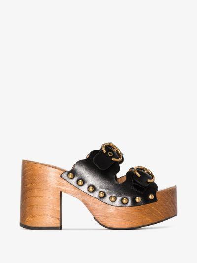 Black Lauren 50 leather clog sandals