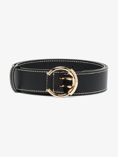 Black logo buckle leather belt