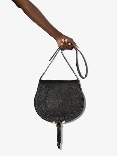 black Marcie leather saddle bag