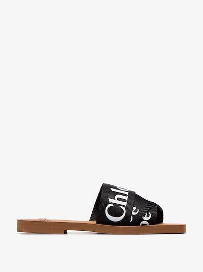 black Woody logo strap sandals