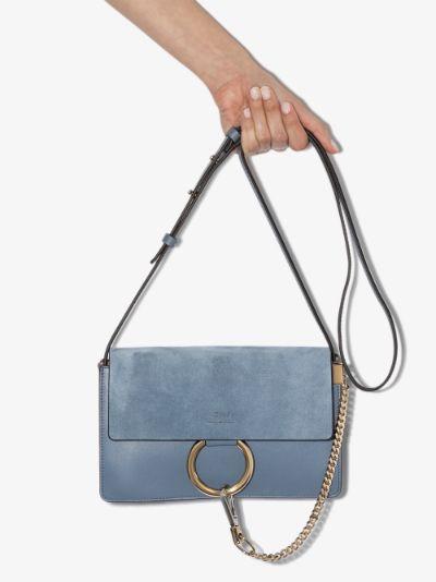 blue faye small leather shoulder bag