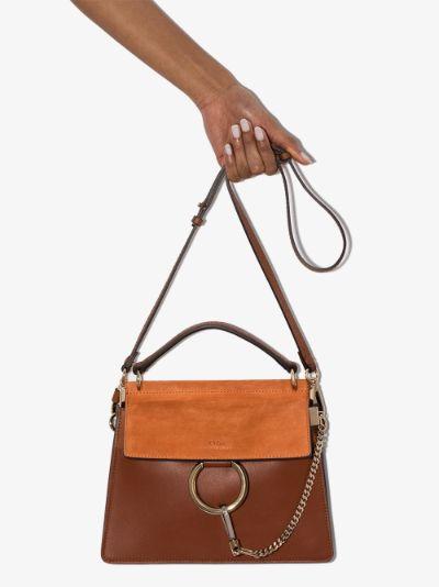 brown Faye small leather top handle bag
