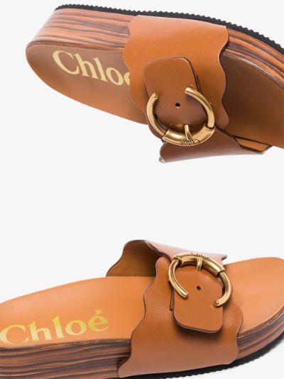 Brown Ingrid flatform leather sandals