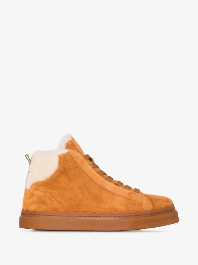 Brown Lauren suede high top sneakers