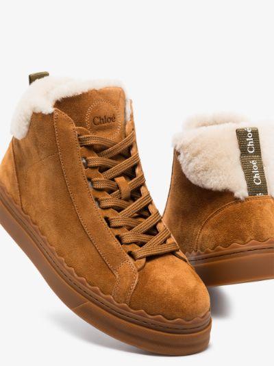 Brown Lauren suede shearling sneakers