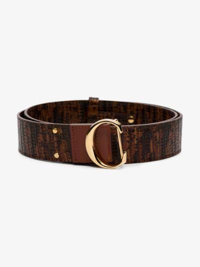 brown lizard effect leather belt