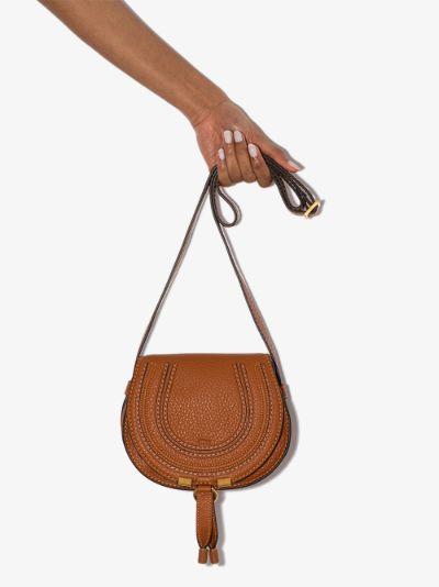 brown Marcie mini leather saddle bag