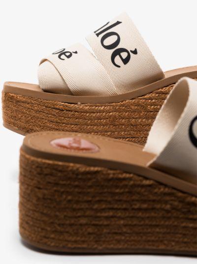 Brown Woody 40 Logo Wedge Sandals
