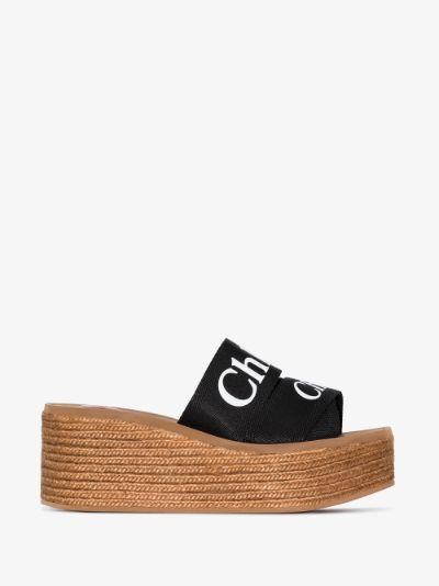 brown Woody 70 logo wedge sandals