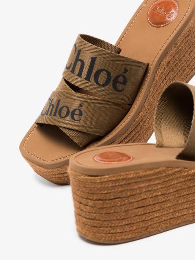 Brown Woody 70 wedge sandals