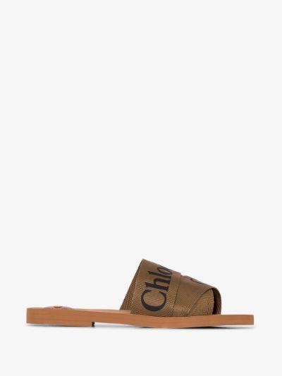 brown Woody logo sandals