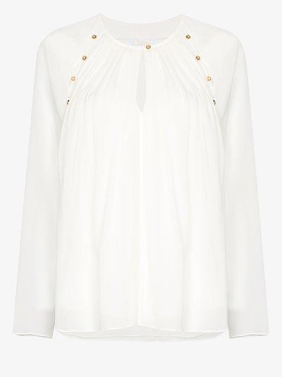 buttoned cutout silk blouse