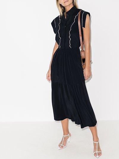 cap sleeve linen midi dress