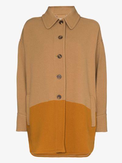 colour block single-breasted coat