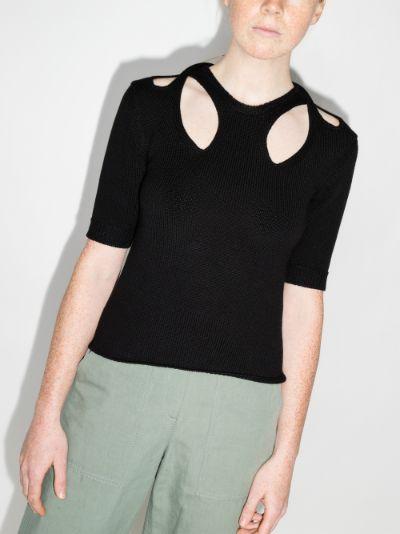 cutout knit T-shirt