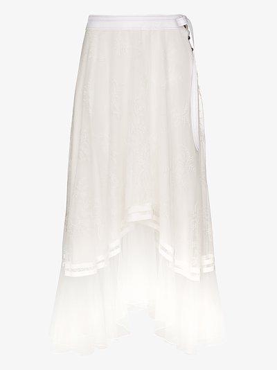 draped lace midi skirt