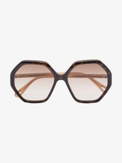 Brown Esther hexagonal sunglasses