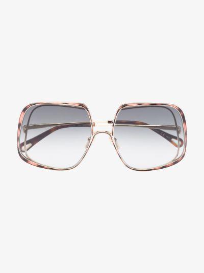 Gold Tone Hanah Oversized Square Sunglasses