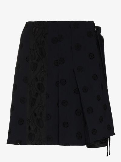 flower dot wrap mini skirt