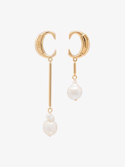 gold tone darcey baroque pearl drop earrings