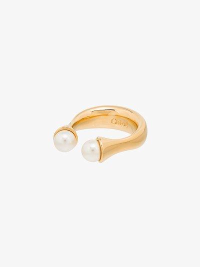 Gold tone Darcey twin pearl ring