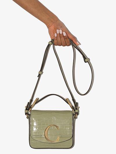 Green C mini mock croc shoulder bag