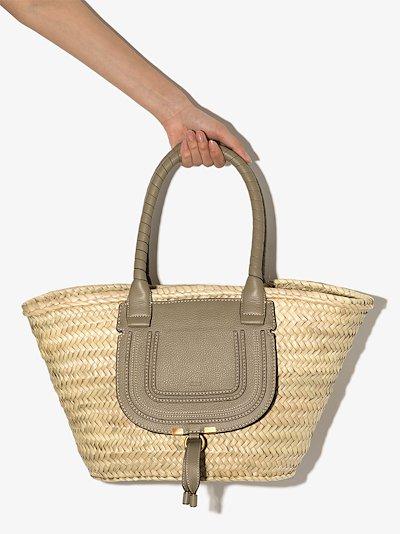 Green Marcie Medium basket tote bag
