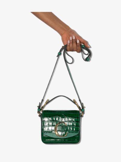 green Mini Chloé C leather shoulder bag
