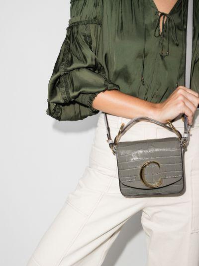 grey C mini mock croc shoulder bag