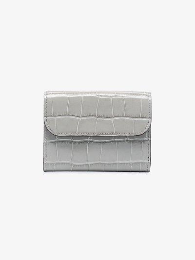 Grey C mock croc leather wallet