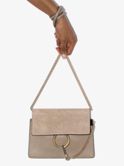 grey Faye mini leather cross body bag