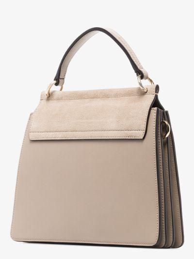grey faye small leather top handle bag