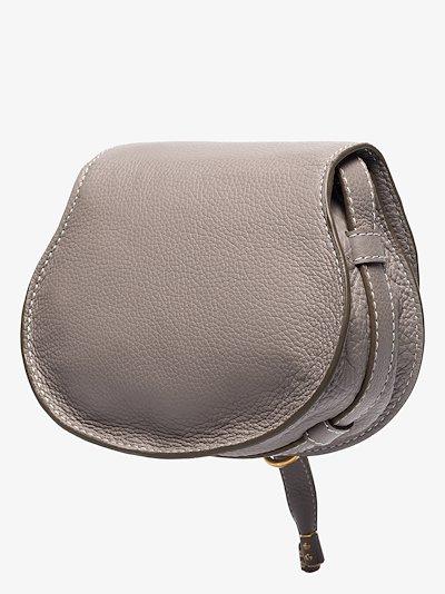 grey Marcie mini leather saddle bag