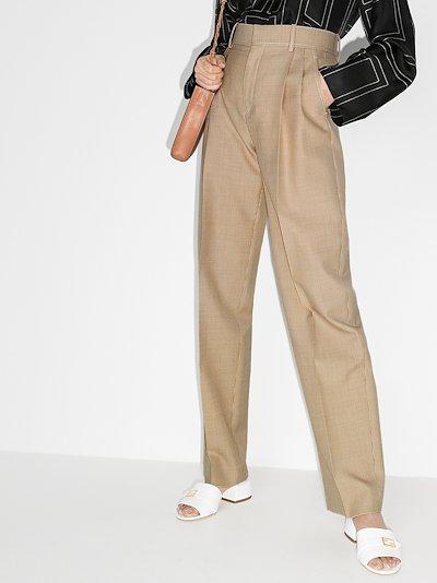 high waist mini houndstooth wool trousers