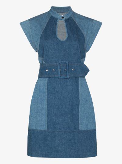 keyhole cap sleeve denim mini dress