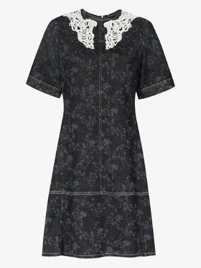 lace collar denim mini dress