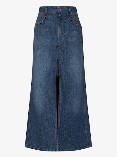 layered denim maxi skirt