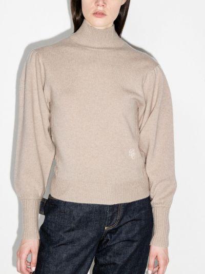 logo-embossed roll-neck jumper