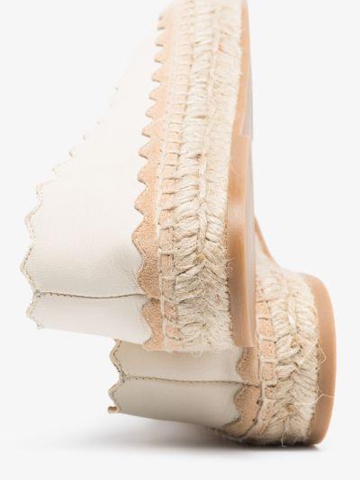 neutral Lauren scalloped leather espadrilles