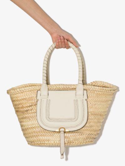 neutral Marcie medium basket tote bag