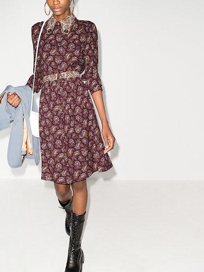 paisley print silk dress