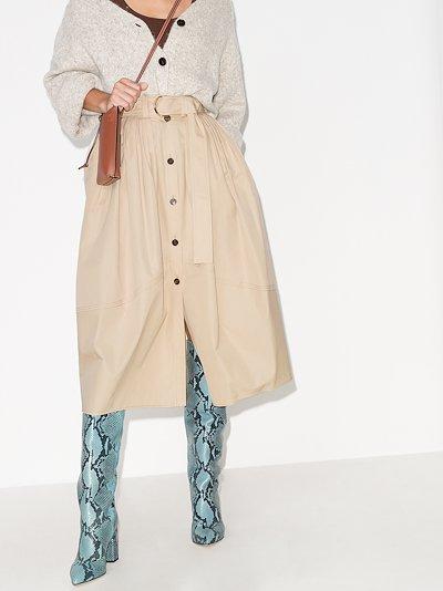 Parachute cotton poplin midi skirt