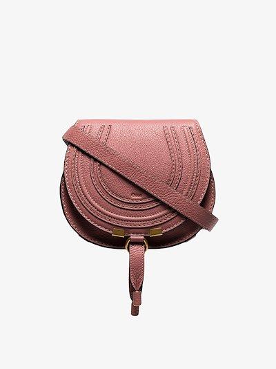 pink Marcie mini leather saddle bag