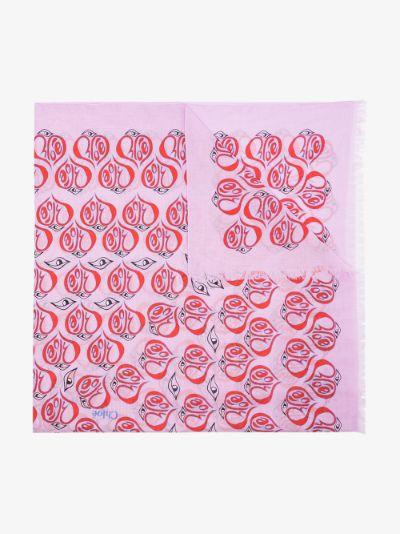 pink Pareo printed cotton scarf